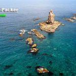 積丹半島にある神威岬の先端部。見えているのはカムイ岩。